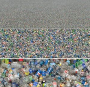 Lots and lots of plastic bottles lying around