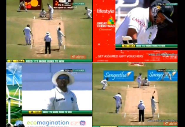 Intrusive advertisements in cricket telecasts