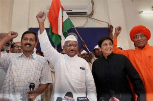 Anna Hazare, with Arvind Kejriwal and Kiran Bedi