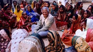 Yunus with his borrowers