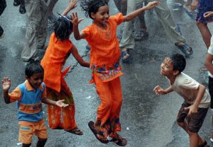Kids enjoying the rains