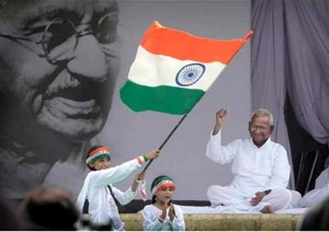 Hazare, Gandhi and the Tiranga Waving Kids - Perfect Pic