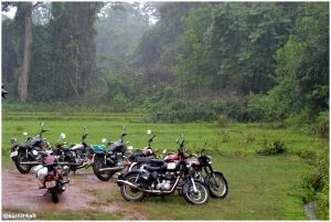 All the bikes at Dandeli amidst the rain