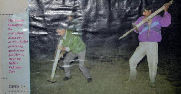 The Shiv Sainiks damaging the Kotla pitch