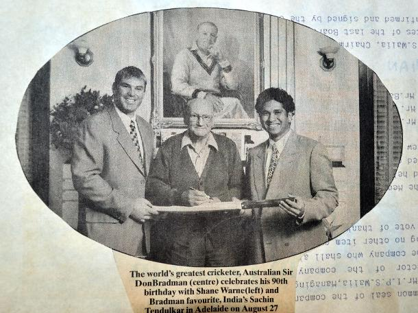 Sir Donald Bradman with Sachin and Warne