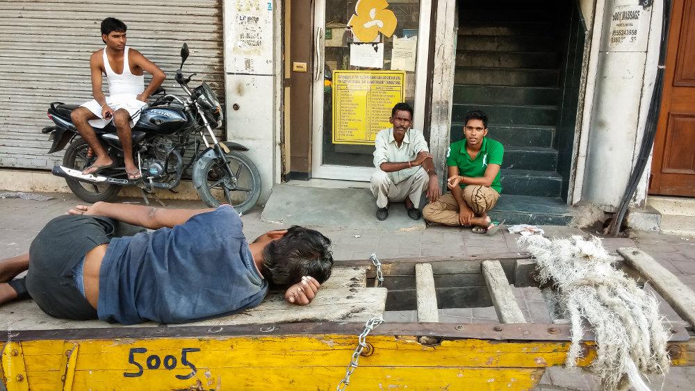 A candid street scene in Paharganj, New Delhi