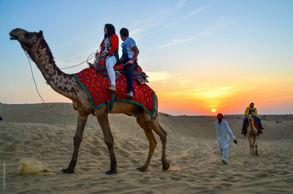 A sunset in the Thar Desert of Rajasthan
